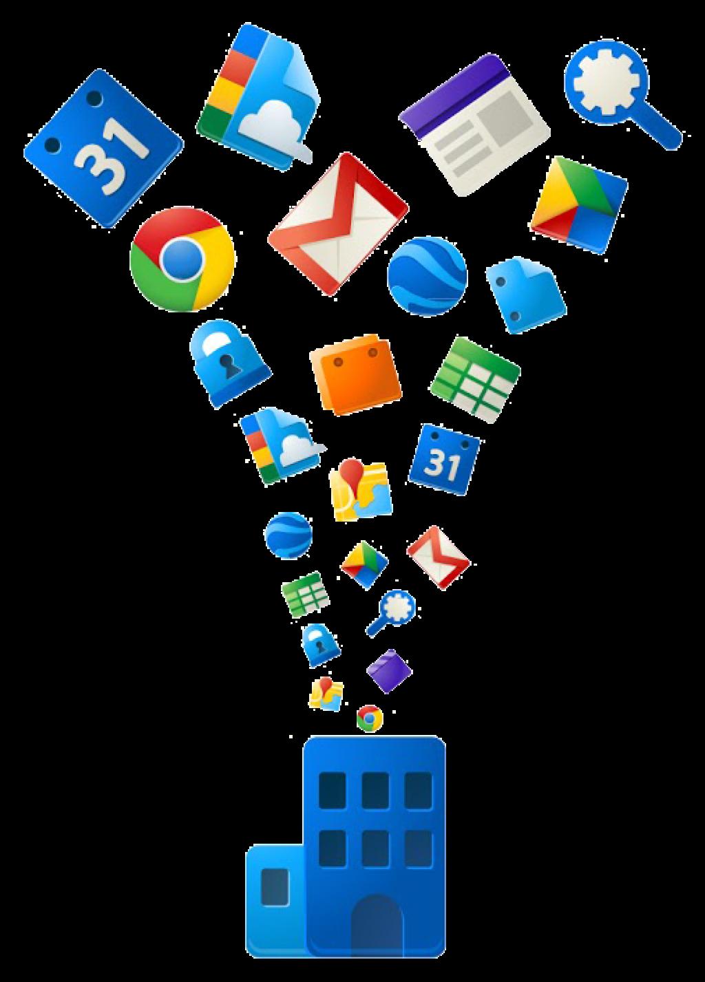 muestra ilustración alegórica a google apps