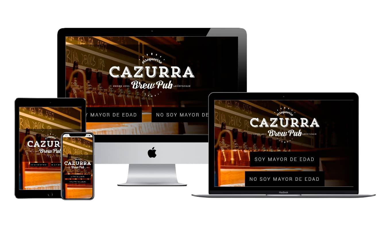Muestra diseño adaptativo de la web de Cazurra Brew Pub