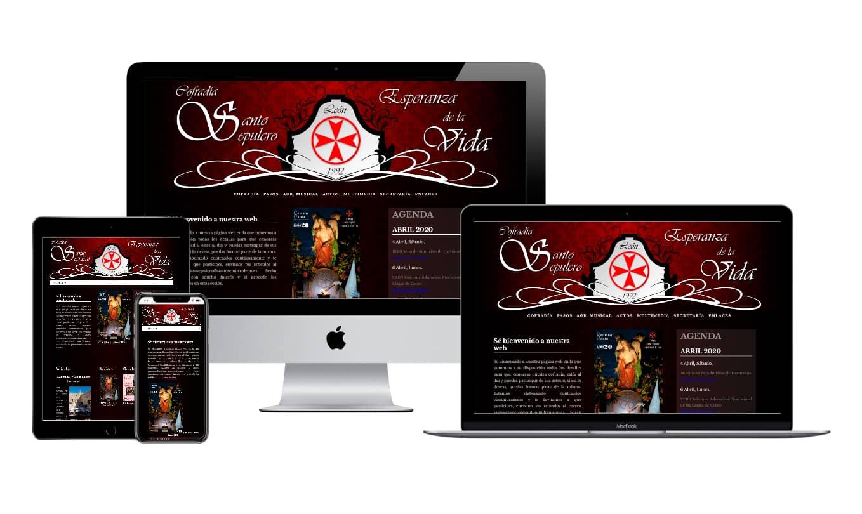 Muestra diseño adaptativo de la web de la Cofradía del Santo Sepulcro - Esperanza de la Vida de León