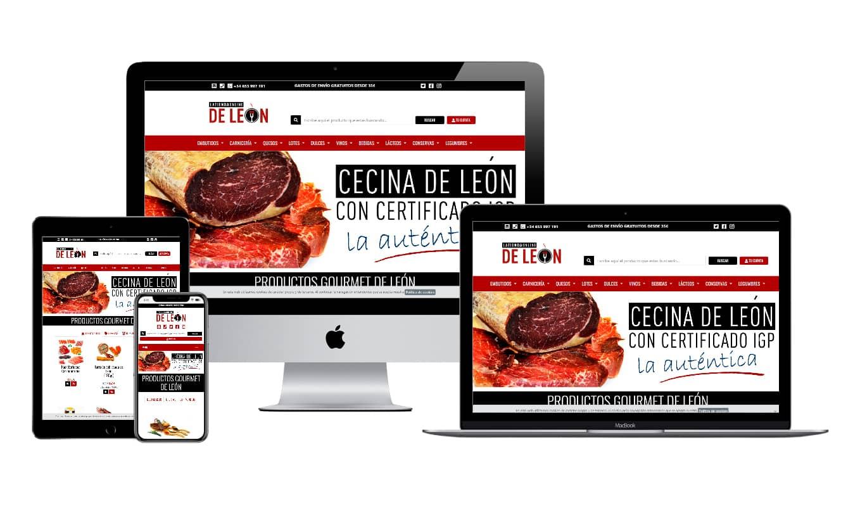 Muestra diseño adaptativo del ecommerce La Tienda Online de León