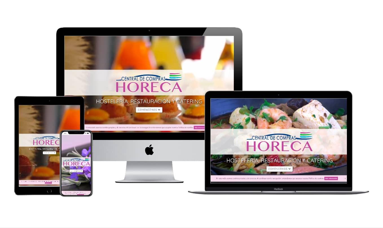 Muestra diseño adaptativo de la web de Central de Compras HORECA