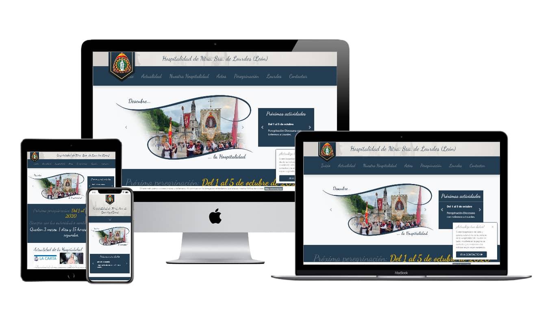 Muestra diseño adaptativo de la web de la Hospitalidad de Lourdes de León