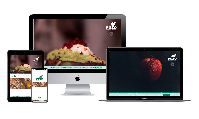 Muestra diseño adaptativo de la web de Pozo, al servicio de la alimentación