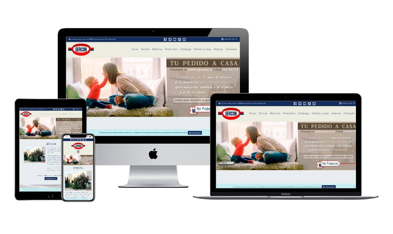 Muestra diseño adaptativo de la web de SERCON