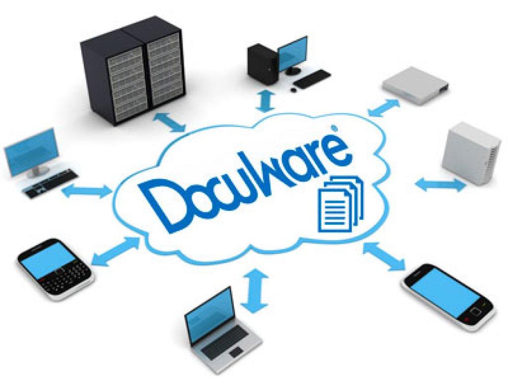 muestra logotipo de docuware y los dispositivos en que puede ser utilizado